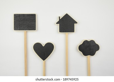 Small layouts, icons cloud, heart, and house on white background
