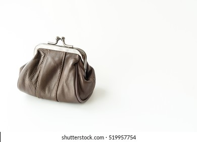 Small leather purse for coins isolated on white background
