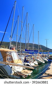 Small leisure boats in the harbor of Porto Rafti, Greece