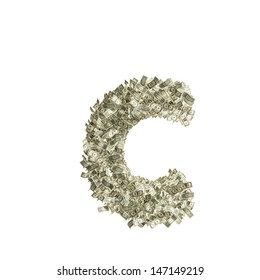 Small letter c made from Dollar bills