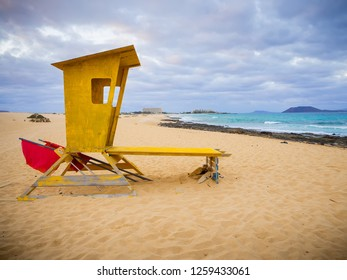 Small lifeguard tower at Corralejo dune beach at Fuerteventura, Spain.