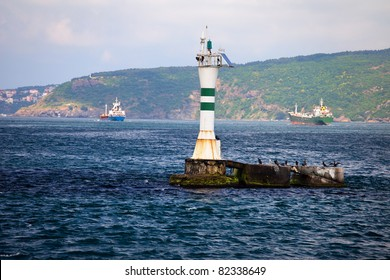Small lighthouse in the middle of the Bosphorus Strait in Turkey