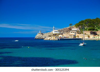 small lighthouse at the pier of Port de Soller, Majorca, Spain