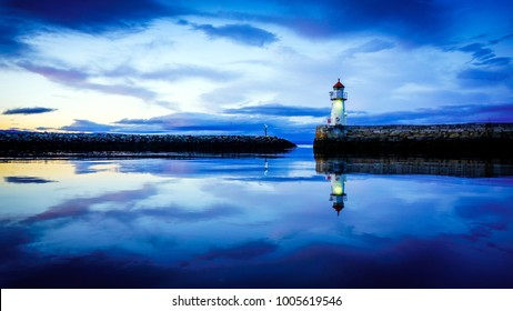 Small lighthouse in Trondheim. Norway