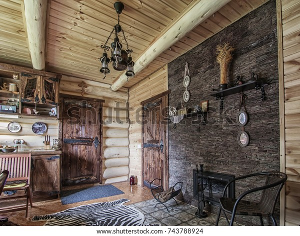 Small Living Room Fireplace Wooden Oldstyle Stock Photo Edit Now 743788924