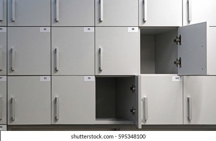 Small lockers storage compartments with numbers