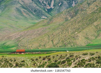 Small lonely village house with red roof near precipice near foot of mountain. Amazing home near abyss with giant mountain slope. Countryside in highlands.