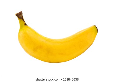 small lunch box sized banana isolated on a white background