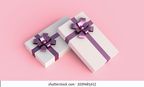 Small luxury white gift boxes with purple ribbon, on pink background. Concept for women, birthday, weddings, and others. 3D Rendering.