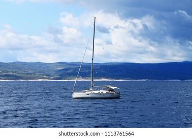 Small luxury yacht in Adriatic sea , Croatia