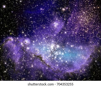 The Small Magellanic Cloud is a small galaxy located outside Milky Way, 210000 light-years away.  Retouched colored image. Elements of this image furnished by NASA.