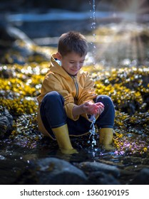 A small male child sitting at the edge of the water catching water drops in his hands.