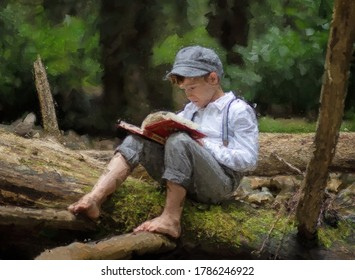 Small male child sitting on a log reading a book wearing a retro hat and suspenders. A painterly effect has been added to give the image a painted effect.