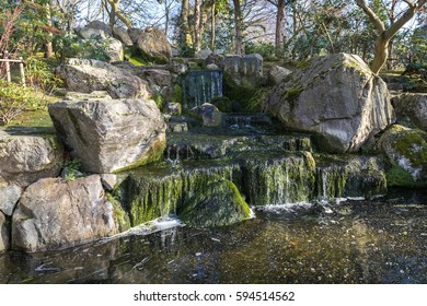 Small man made cascade in the public park
