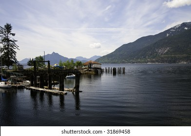 Small marina by Squamish highway on the way to whistler B.C.