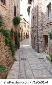 Small medieval alley in Spello city ( Umbria Italy )