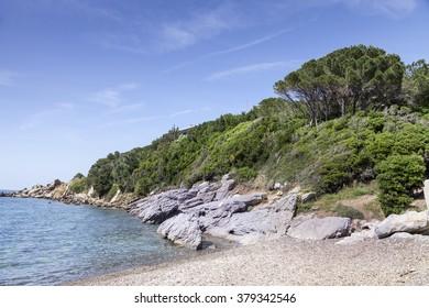 Small mediterranean beach on the island of Elba in Nisporto village, Tuscany, Italy