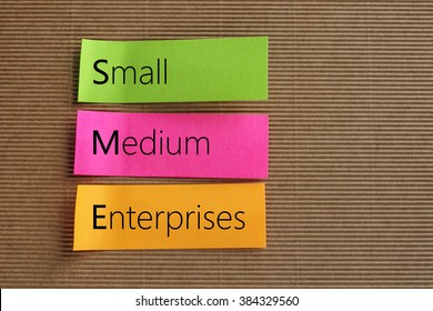 Small Medium-sized Enterprises (SME) text on colorful sticky notes