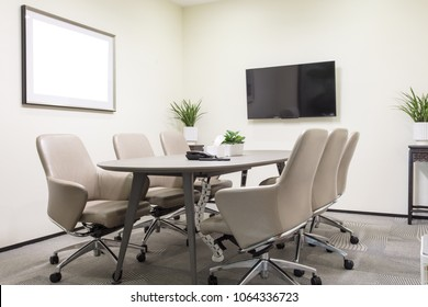 Small meeting room with leather seats