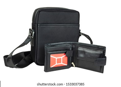 Small men's bag with a wallet on a white background. Isolate, close up.
