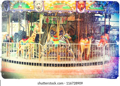 a small merry go round at a zoo