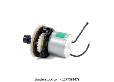 small metal stepper motor with protruding wires isolated on white background