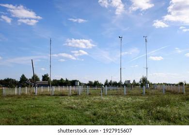 Small meteorological observing station in Ryazan region of Russia. Sunny summer view. - Shutterstock ID 1927915607