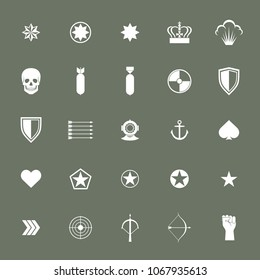 Small military army war icons collections. Weapon sign, rocket armed ammunition. illustration