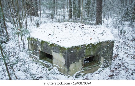 small military old bunker in winter forest