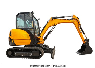 Small or mini excavator with clipping path isolated on white background