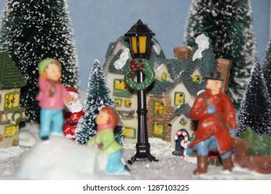 Miniature Christmas Village.Miniature Christmas Village Images Stock Photos Vectors