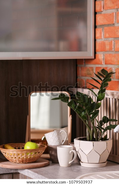 Small mirror and plant on table in kitchen. Idea for home design