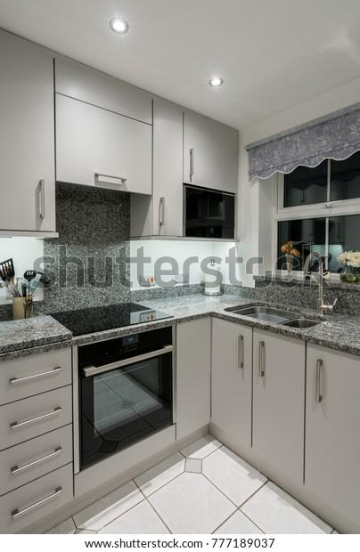 Small Modern Kitchen Uk Apartment Granite | Royalty-Free ...