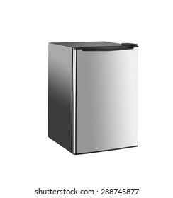 Small modern refrigerator isolated on white