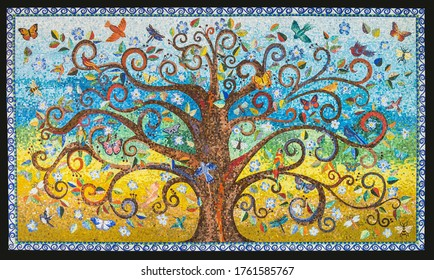 Small mosaic tiles pattern forming a Tree of Life background. Mosaic artwork made by a mosaic artist.