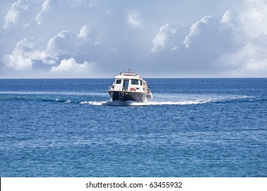 small motor boat on the ocean