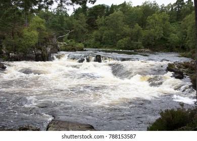 Small mountain river waterfall