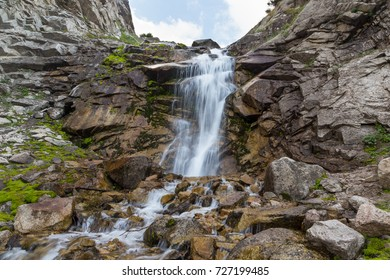 A small mountain waterfall in foothills of Almaty