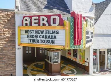 Small movie theater in Santa Monica - The Aero Cinema - LOS ANGELES / CALIFORNIA - APRIL 20, 2017