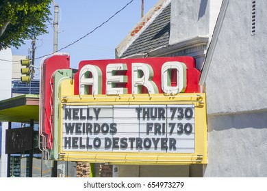 Small movie theater in Santa Monica - The Aero Cinema - LOS ANGELES / CALIFORNIA - APRIL 20, 2017