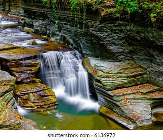 A small multi-tiered waterfall.