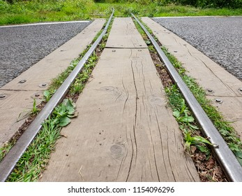 A small, narrow guage train track runnig across a tarmac road. Wooden planks have been placed between the rails to make a smoother crossing for road traffic