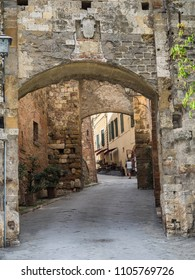 Small narrow streets in wine city of Montepulciano in Tuscany, Italy