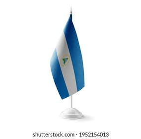 Small national flag of the Nicaragua on a white background