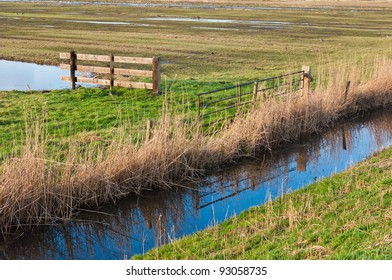 Small nature reserve Zonzeel (near the village of Hooge Zwaluwe, North-Brabant) in the Netherlands with fences, wetlands and a reflecting ditch. Autumnal colors in winter.