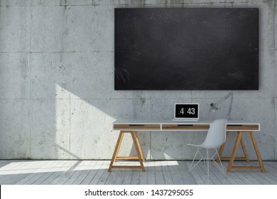 Small neat minimalist monochromatic grey office with blank cleaned chalkboard above a modern desk and chair with digital clock