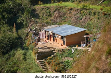 Small nepalese village house in the mountains in Dakshinkali, Nepal