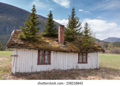 The Small Norwegian building in Norway mountain.