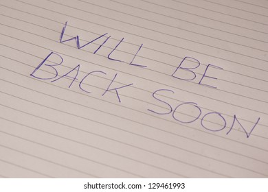 A small note with the text: will be back soon