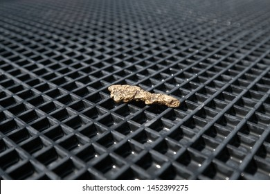 A small oblong nugget of gold lies on a rubber Mat